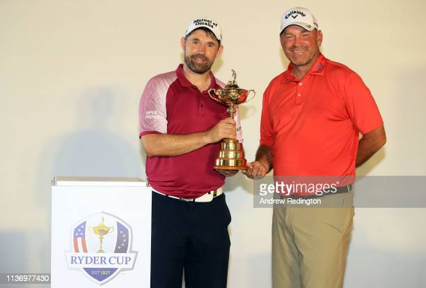 Padraig Harrington European Ryder Cup Captain for 2020 and Thomas Bjorn European Ryder Cup Captain for 2018 pose with The Ryder Cup trophy a press...