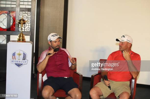 Padraig Harrington European Ryder Cup Captain for 2020 and Thomas Bjorn European Ryder Cup Captain for 2018 are pictured with The Ryder Cup trophy a...