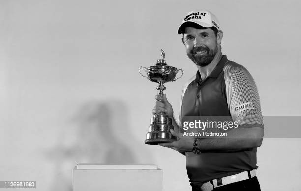 Padraig Harrington European Ryder Cup Captain for 2020 is pictured with The Ryder Cup trophy during a press conference following the Pro Am event...