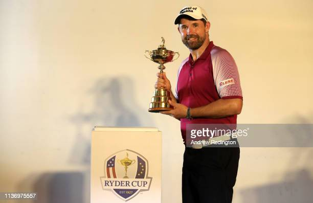 Padraig Harrington European Ryder Cup Captain for 2020 poses with The Ryder Cup trophy during the Pro Am event prior to the start of the Maybank...