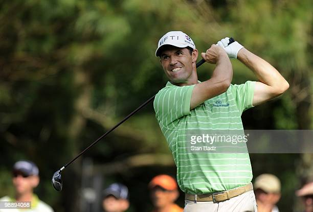 Padraig Harrington hits a drive during the first round of THE PLAYERS Championship on THE PLAYERS Stadium Course at TPC Sawgrass on May 6, 2010 in...