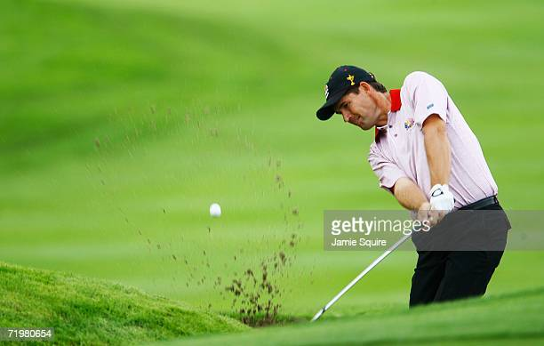 Padraig Harrington of Europe hits out of a bunker on the 4th hole during his singles match against Scott Verplank of USA on the final day of the 2006...