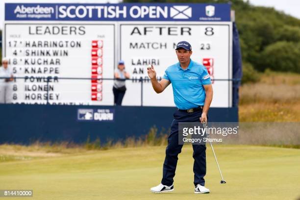 Padraig Harrington of Ireland acknowledges the crowd on the 9th green during day two of the AAM Scottish Open at Dundonald Links Golf Course on July...