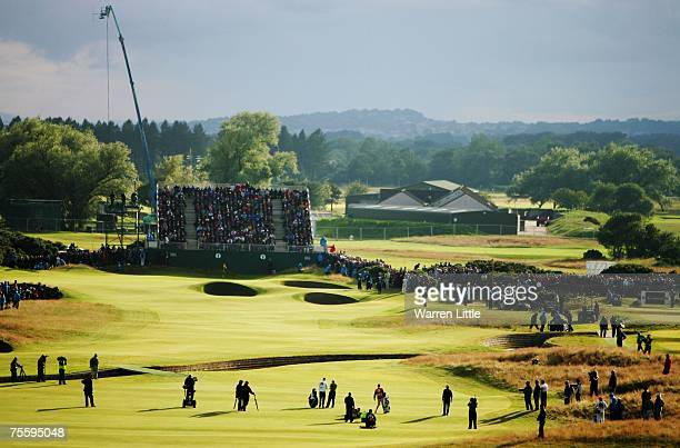 Padraig Harrington of Ireland and Sergio Garcia of Spain on the third playoff hole during The 136th Open Championship at the Carnoustie Golf Club on...