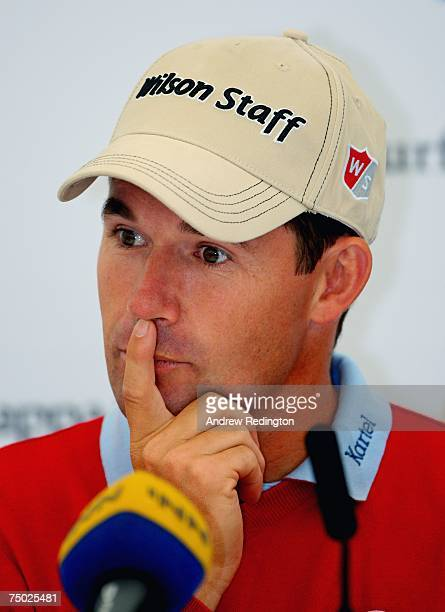 Padraig Harrington of Ireland attends a press conference prior to appearing in the ProAm for the Smurfit Kappa European Open on July 4 2007 on the...