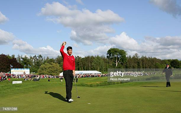 Padraig Harrington of Ireland celebrates after winning at the first play off hole during the final round of the Irish Open on May 20 2007 at the...
