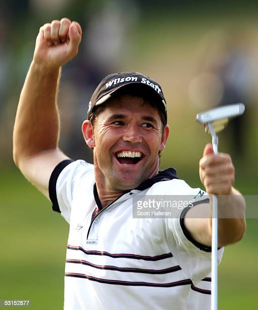 Padraig Harrington of Ireland celebrates his eagle on the 18th hole to win the Barclays Classic with a score of 10under par on June 26 2005 at...