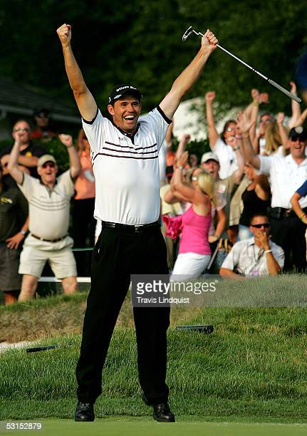 Padraig Harrington of Ireland celebrates his eagle on the 18th hole to win the Barclays Classic with a score of 10-under par on June 26, 2005 at...