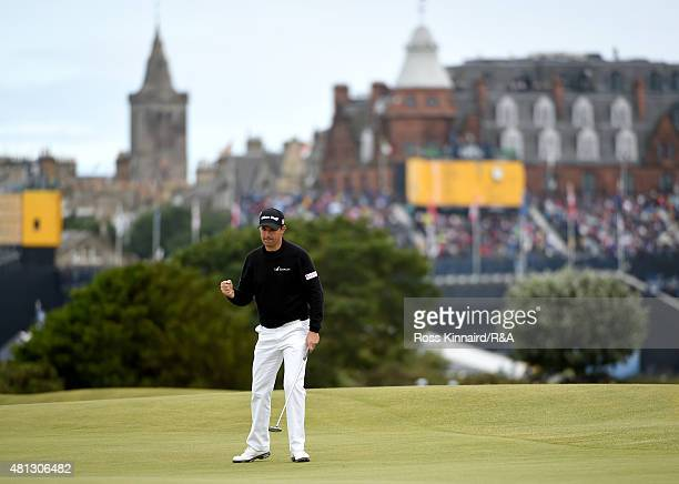 Padraig Harrington of Ireland celebrates on the 16th hole after making a putt for birdie during the third round of the 144th Open Championship at The...