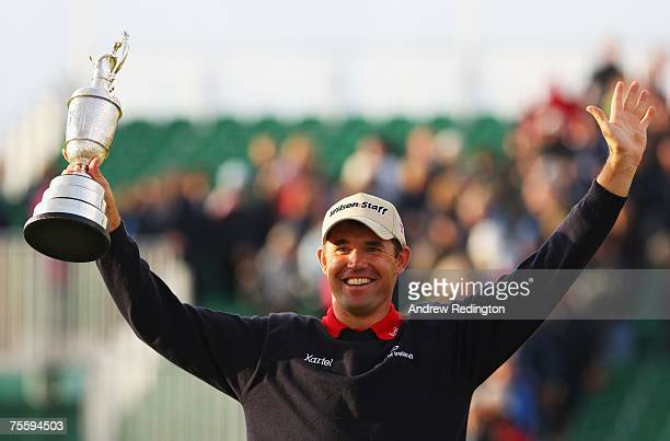 Padraig Harrington of Ireland celebrates with the Claret Jug after defeating Sergio Garcia of Spain in the playoff to win The 136th Open Championship...