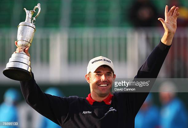 Padraig Harrington of Ireland celebrates with the Claret Jug after winning The 136th Open Championship at the Carnoustie Golf Club on July 22 2007 in...