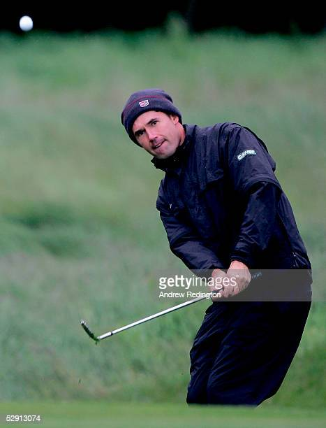 Padraig Harrington of Ireland chips onto the 15th green during the Nissan Irish Open ProAm at Carton House Golf Club on May 18 in Maynooth Ireland