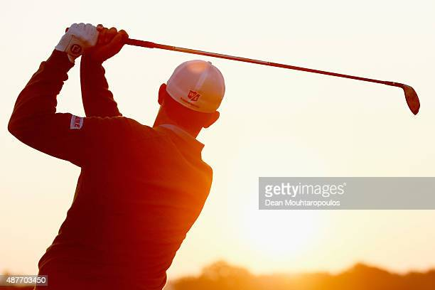 Padraig Harrington of Ireland hits a practice shot on the driving range prior to Day 2 of the KLM Open held at Kennemer G CC on September 11 2015 in...