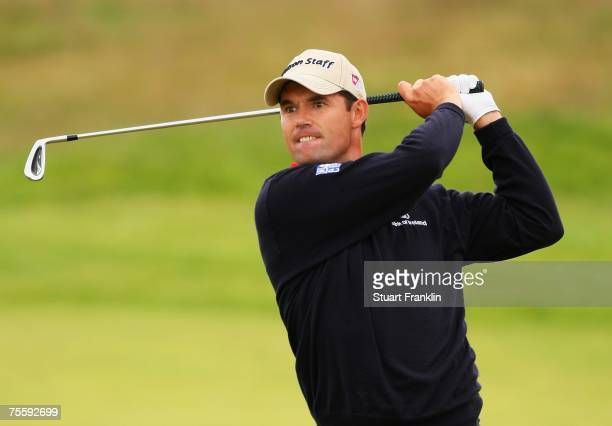 Padraig Harrington of Ireland hits a shot during the final round of The 136th Open Championship at the Carnoustie Golf Club on July 22, 2007 in...