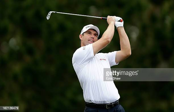 Padraig Harrington of Ireland hits a shot during the second round of the ATT Pebble Beach National ProAm at the Monterey Peninsula Country Club on...