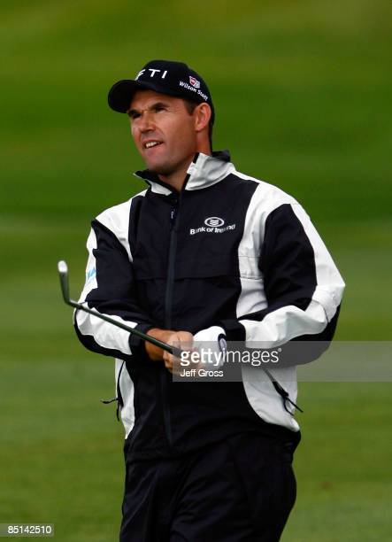 Padraig Harrington of Ireland hits a shot during the second round of the Buick Invitational at the Torrey Pines Golf Course on February 6, 2009 in La...