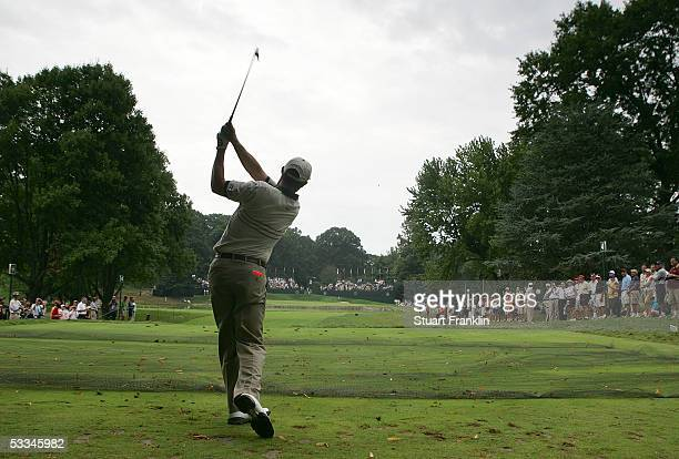 Padraig Harrington of Ireland hits a tee shot during the second practice round of the 2005 PGA Championship at Baltusrol Golf Club on August 9 2005...