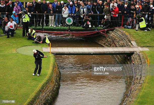 Padraig Harrington of Ireland hits his fifth shot on the 18th hole during the final round of The 136th Open Championship at the Carnoustie Golf Club...