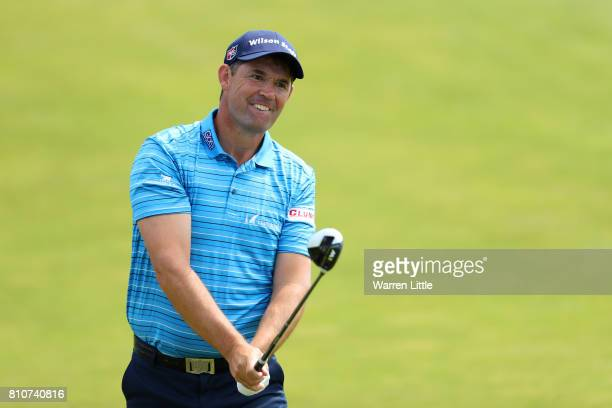 Padraig Harrington of Ireland hits his second shot on the 4th hole during day three of the Dubai Duty Free Irish Open at Portstewart Golf Club on...