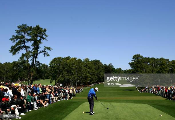 Padraig Harrington of Ireland hits his tee shot on the eighth hole during the second round of The Masters at the Augusta National Golf Club on April...