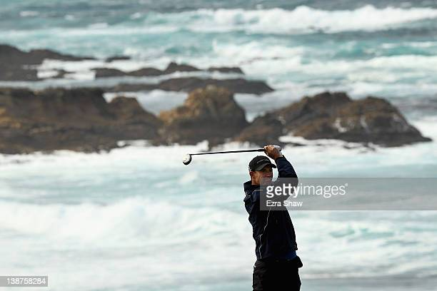 Padraig Harrington of Ireland hits his tee shot on the fourth hole during the third round of the AT&T Pebble Beach National Pro-Am at the Spyglass...