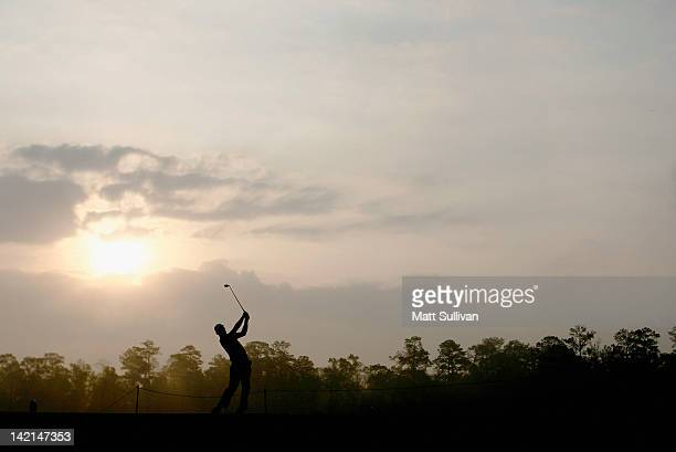 Padraig Harrington of Ireland hits his tee shot on the third hole during the completion of the weatherdelayed first round of the Shell Houston Open...