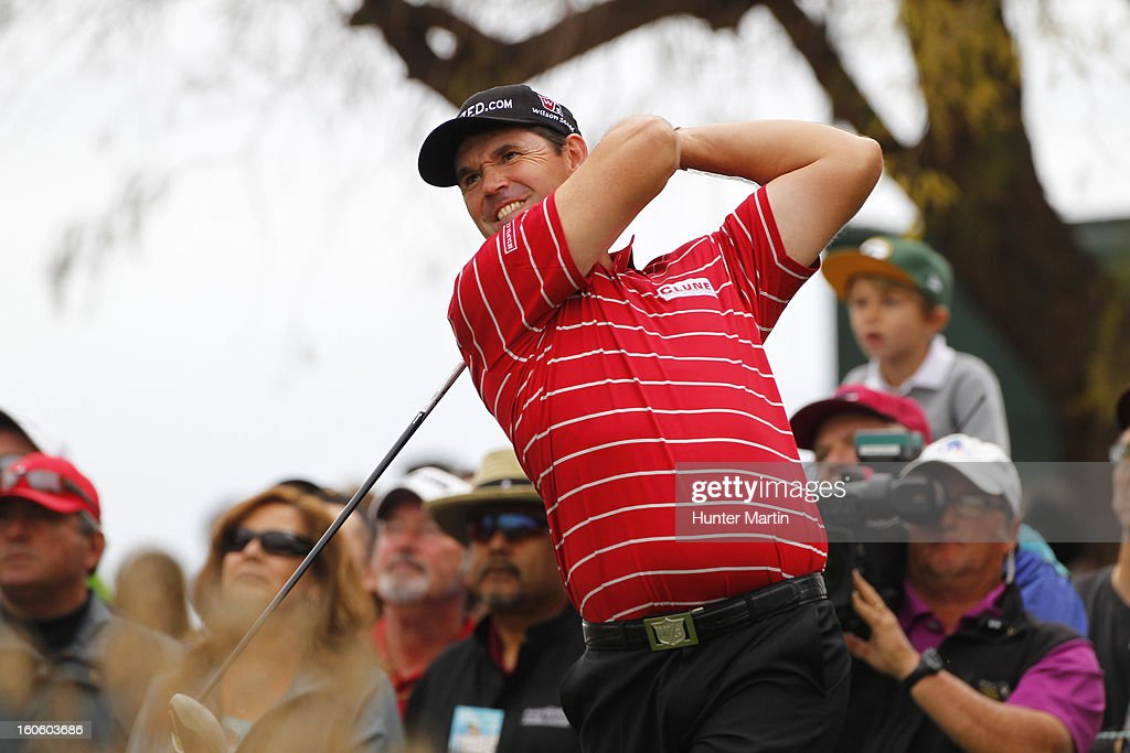 Padraig Harrington of Ireland hits his tee shot on the third hole during the final round of the Waste Management Phoenix Open at TPC Scottsdale on February 3, 2013 in Scottsdale, Arizona.
