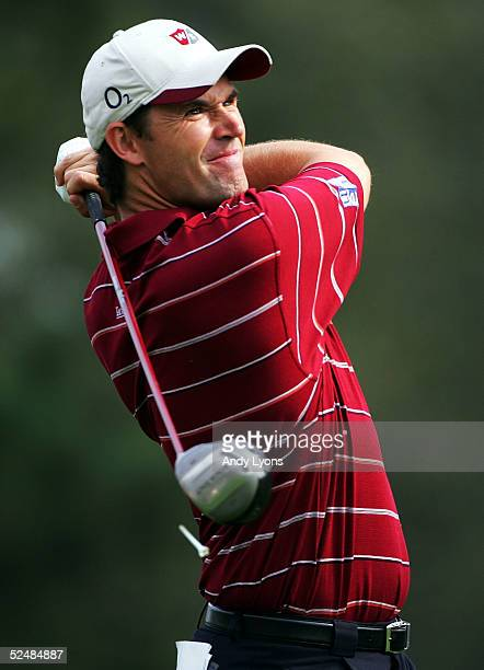 Padraig Harrington of Ireland hits hits his tee shot on the par 5 16th hole during the second round of The Players Championship on March 27 2005 at...