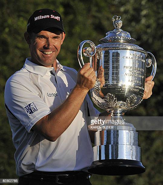 Padraig Harrington of Ireland holds the Wanamaker Trophy after winning the 90th PGA Championship August 10, 2008 at the Oakland Hills Country Club in...