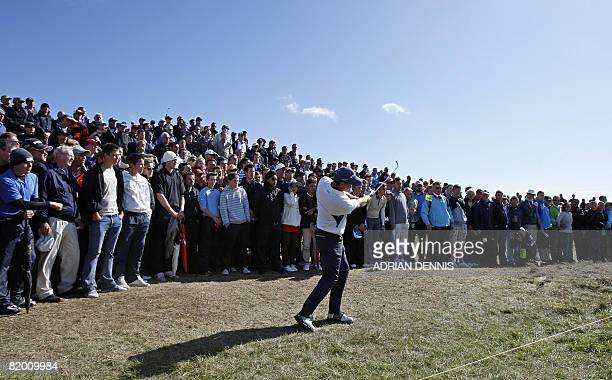 Padraig Harrington of Ireland in action on the 10th hole during the fourth round at The Open golf tournament at Royal Birkdale in Southport in...