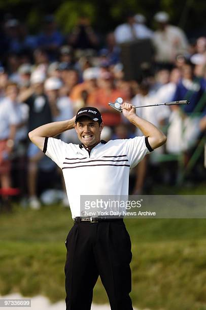 Padraig Harrington of Ireland is jubilant after sinking a 30foot putt to win the $575 million Barclays Classic golf tournament at the Westchester...