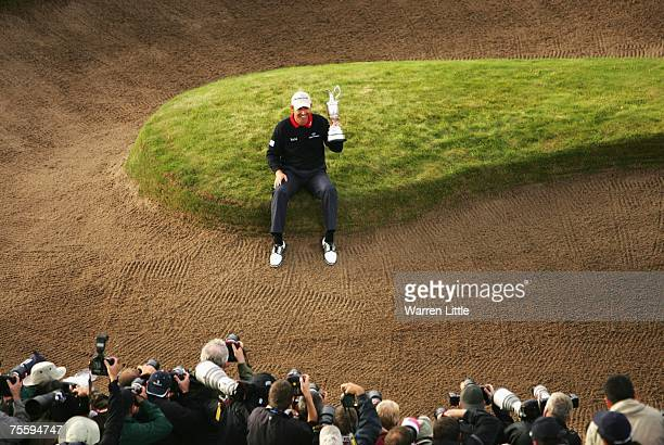 Padraig Harrington of Ireland is photographed with the Claret Jug after winning The 136th Open Championship at the Carnoustie Golf Club on July 22...