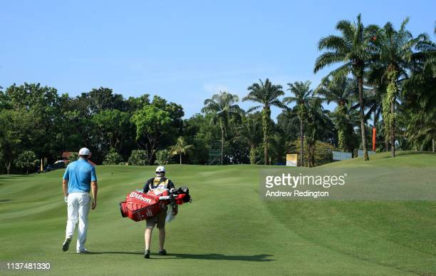 Padraig Harrington of Ireland is pictured on the 14th hole on Day Two of the Maybank Championship at at Saujana Golf Country Club Palm Course on...