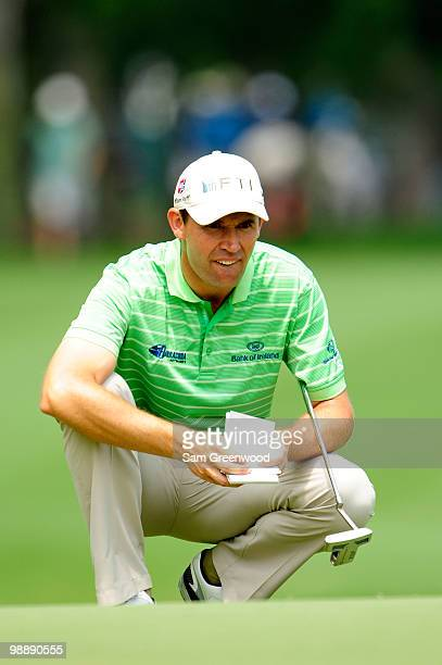 Padraig Harrington of Ireland looks at his yardage book on the sixth green during the first round of THE PLAYERS Championship held at THE PLAYERS...