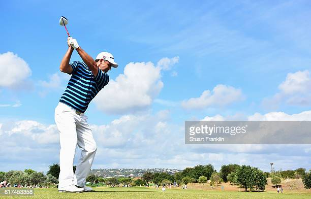 Padraig Harrington of Ireland plays a shot during the final round of The Portugal Masters at Victoria Clube de Golfe on October 23 2016 in Albufeira...