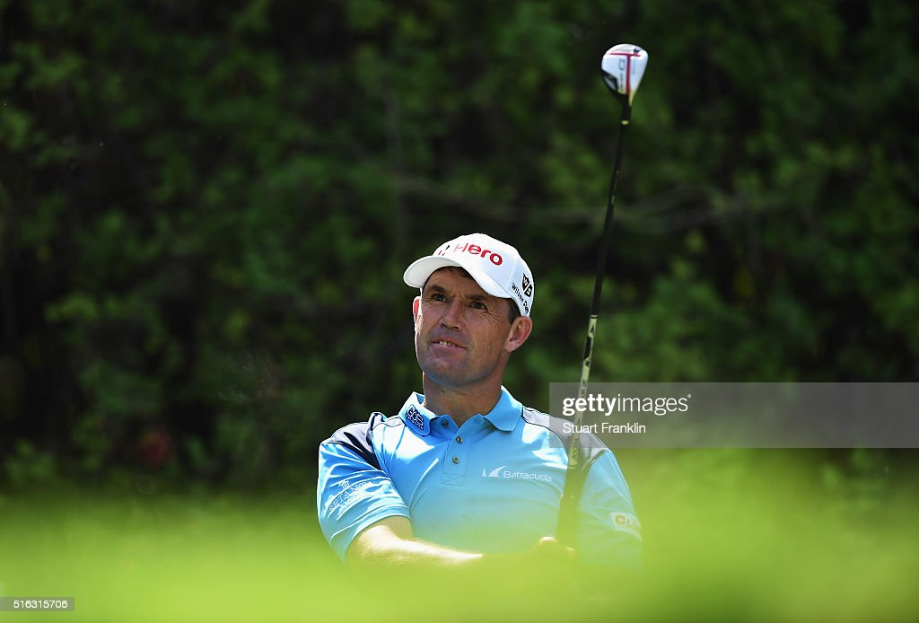 Padraig Harrington of Ireland plays a shot during the second round of the Hero Indian Open at Delhi Golf Club on March 18, 2016 in New Delhi, India.