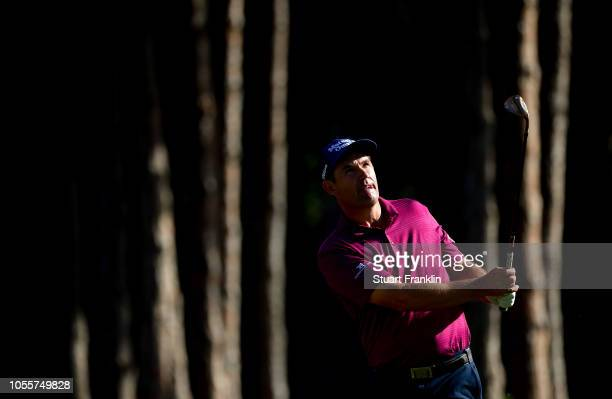 Padraig Harrington of Ireland plays a shot in the pro am prior to the start of the Turkish Airlines Open at the Regnum Carya Golf Spa Resort on...