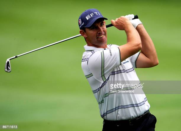 Padraig Harrington of Ireland plays a shot on the 2nd hole during the third round of the WGCBridgestone Invitational on the South Course at Firestone...