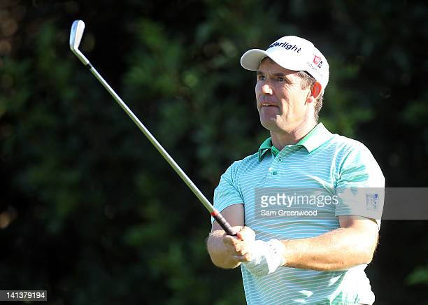 Padraig Harrington of Ireland plays a shot on the fourth hole during the first round of the Transitions Championship at Innisbrook Resort and Golf...