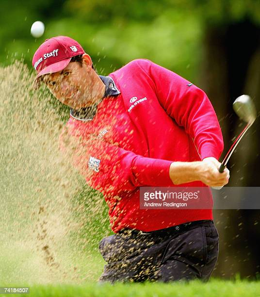 Padraig Harrington of Ireland plays from a bunker on the ninth hole during the second round of the Irish Open on May 18 2007 at the Adare Manor Hotel...