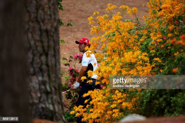 Padraig Harrington of Ireland plays his fifth shot from a creek on the second hole during the third round of the 2009 Masters Tournament at Augusta...