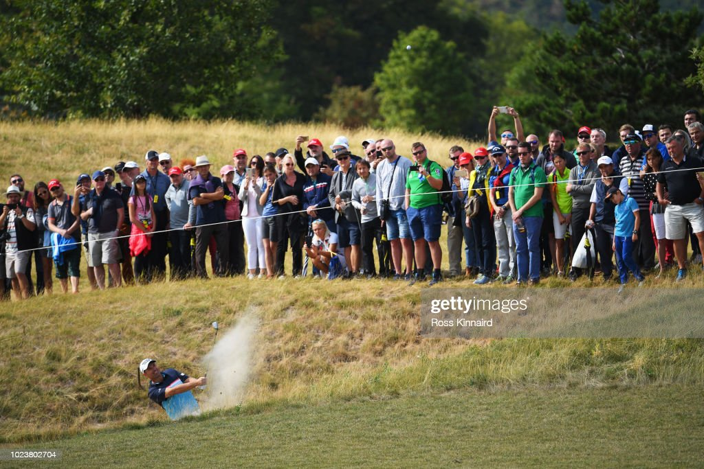 Padraig Harrington of Ireland plays his second shot on the 12th hole during day four and final round of the the D+D REAL Czech Masters at Albatross Golf Resort on August 26, 2018 in Prague, Czech Republic.