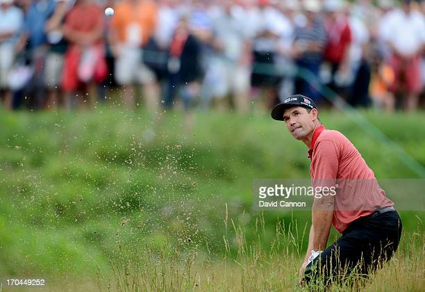Padraig Harrington of Ireland plays his second shot on the 17th hole during Round One of the 113th U.S. Open at Merion Golf Club on June 13, 2013 in...