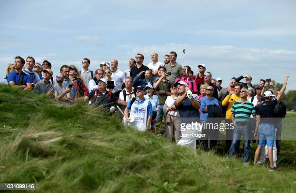 Padraig Harrington of Ireland plays his second shot on the 6th hole during Day Four of the KLM Open at The Dutch on September 16 2018 in Spijk...