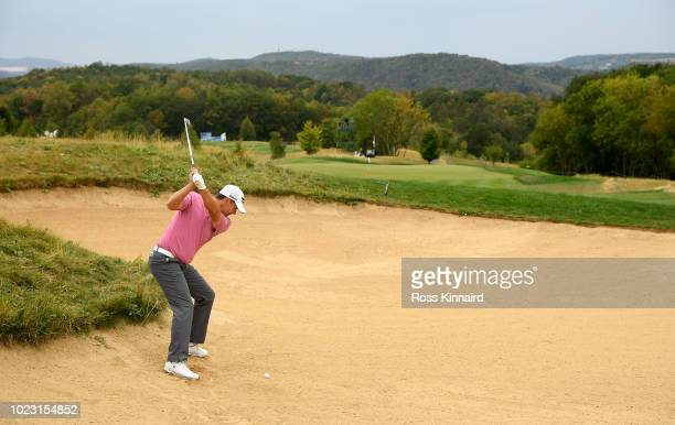Padraig Harrington of Ireland plays his second shot on the par four 8th hole during the third round of the DD REAL Czech Masters at Albatross Golf...