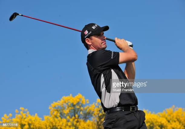 Padraig Harrington of Ireland plays his tee shot during the pro am prior to the Open de France ALSTOM at the Le Golf National Golf Club on July 1...