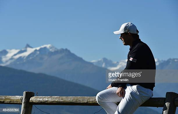 Padraig Harrington of Ireland ponders during the Pro - Am prior to the start of the Omega European Masters at Crans-sur-Sierre Golf Club on September...