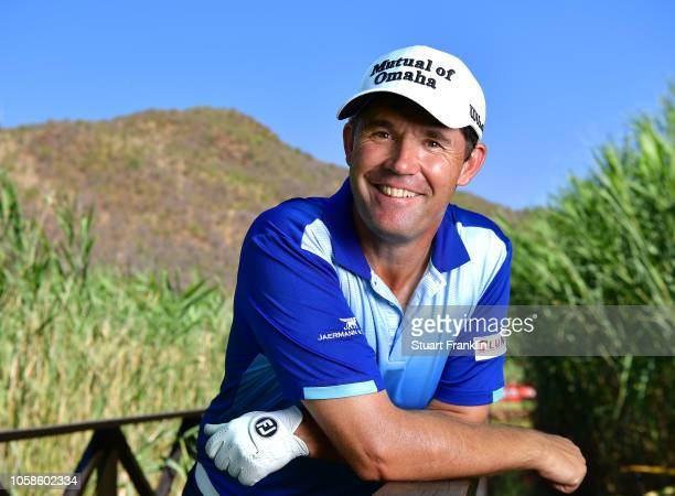 Padraig Harrington of Ireland poses for a picture on the 17th hole during the pro am prior to the Nedbank Golf Challenge at Gary Player CC on...