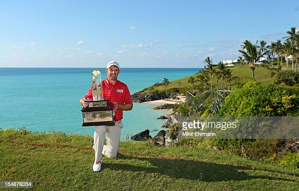 Padraig Harrington of Ireland poses with the trophy after winning the PGA Grand Slam of Golf at Port Royal Golf Course on October 24 2012 in...