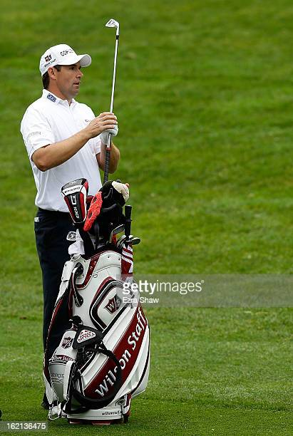 Padraig Harrington of Ireland pulls a club during the second round of the ATT Pebble Beach National ProAm at the Monterey Peninsula Country Club on...